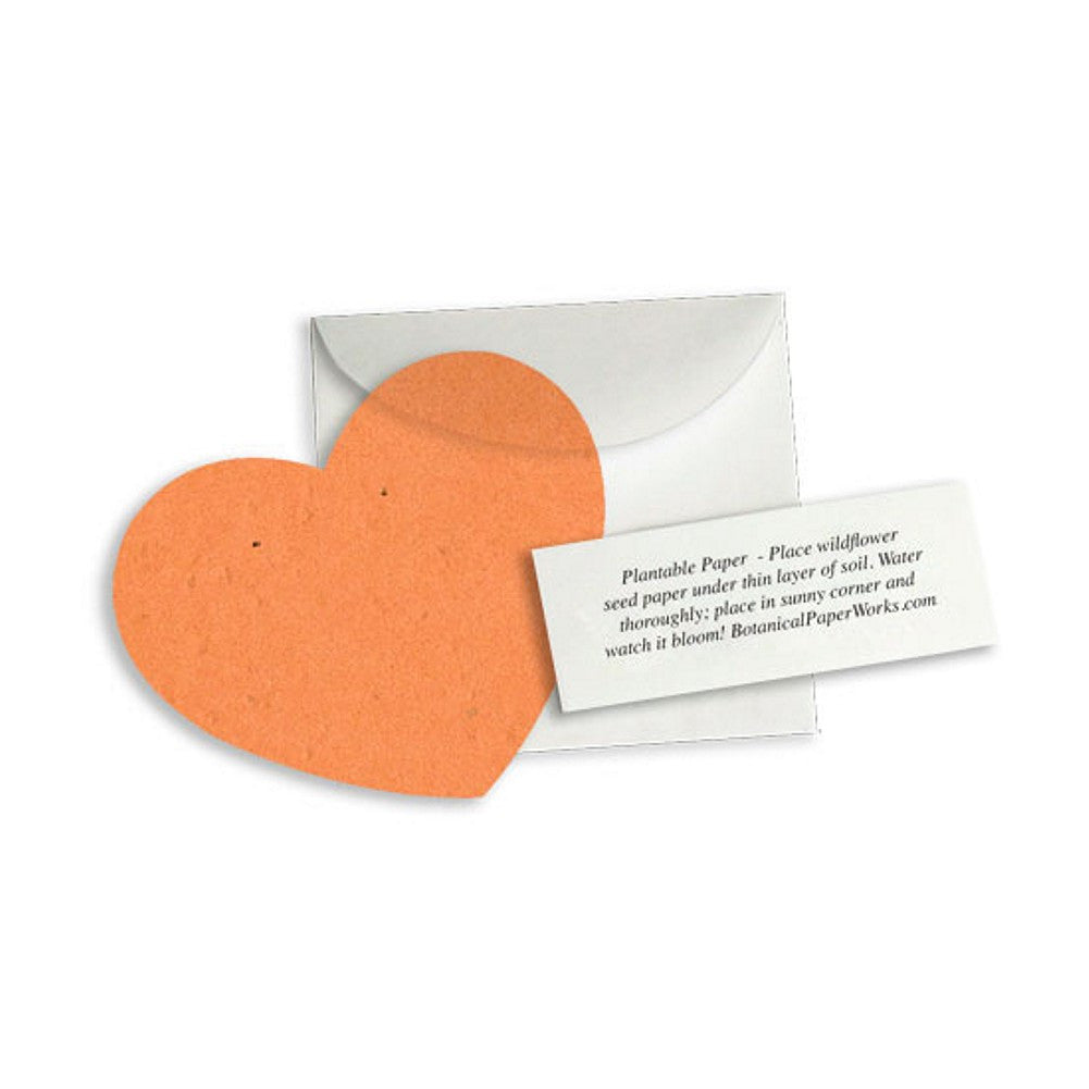 Plantable Heart Note Favor - Burnt Orange, plantable wedding favor, heart party favor, orange wedding favor, seed favors, Eco-Friendly Favors