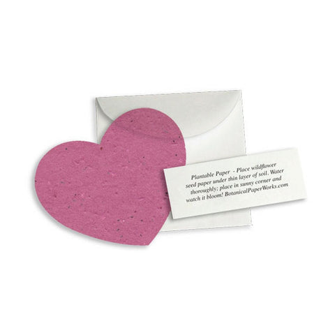 Plantable Heart Note Favor - Berry Purple, plantable wedding favor, heart party favor, magenta wedding favors, seed favors, Eco-Friendly Favors
