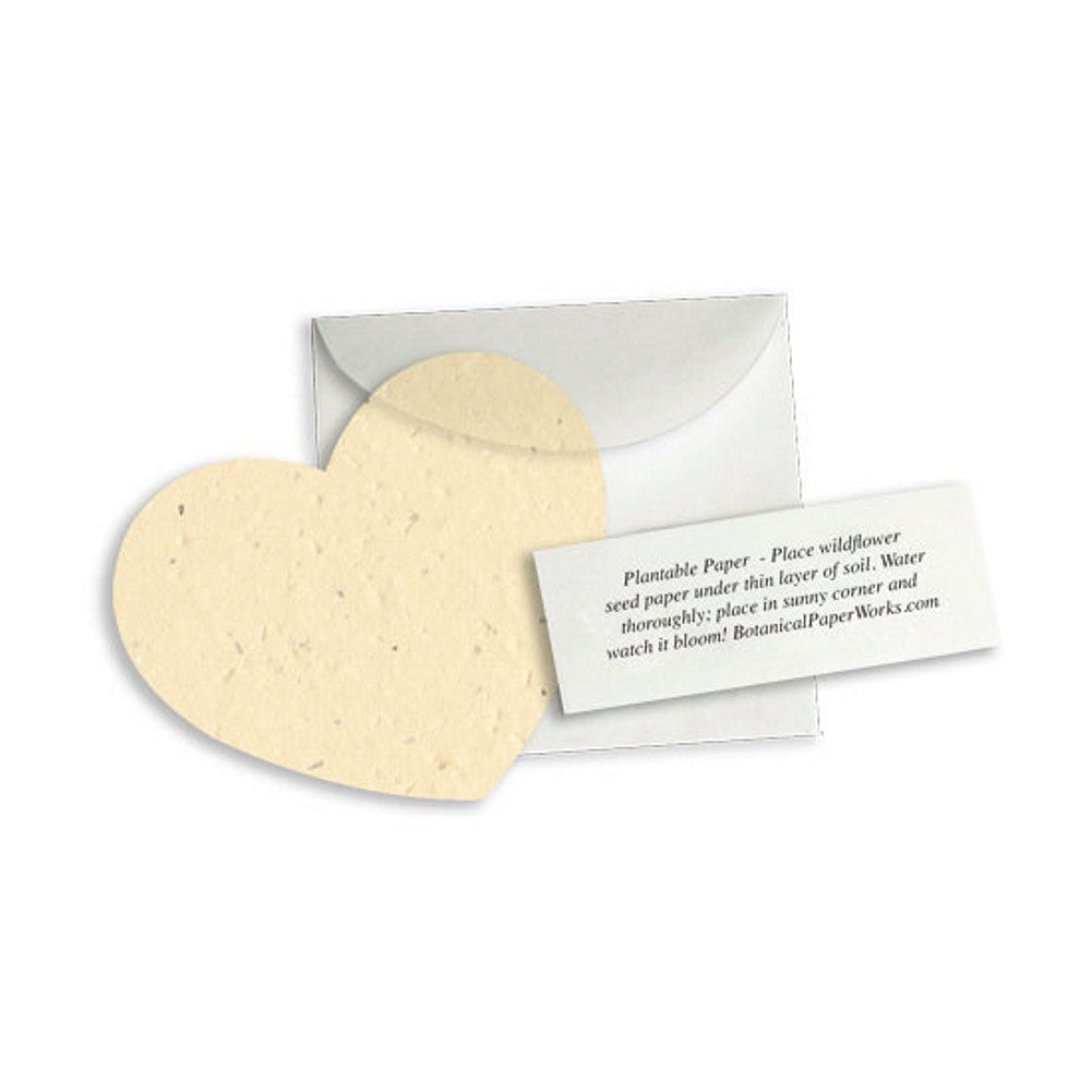 Plantable Heart Note Favor - Cream, plantable wedding favor, heart party favor, cream wedding favors, seed favors, Eco-Friendly Favors