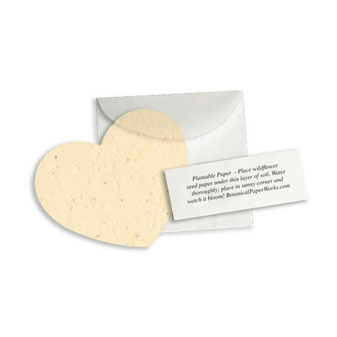 Plantable Heart Note Favor - Cream - Sophie's Favors and Gifts