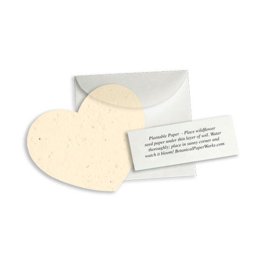 Plantable Heart Note Favor - Cream - Pack of 50 - Sophie's Favors and Gifts
