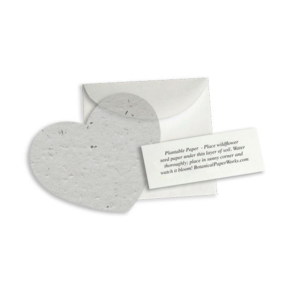 Plantable Heart Note Favor - Dove Grey (Pack of 20) - Sophie's Favors and Gifts