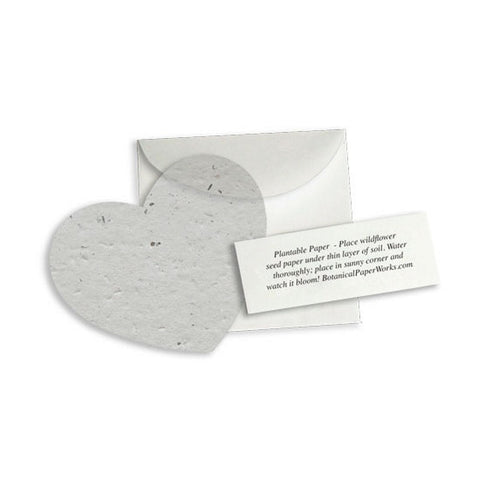 Plantable Heart Note Favor - Dove Grey, plantable wedding favor, heart party favor, grey wedding favors, gray wedding favors, Eco-Friendly Favors