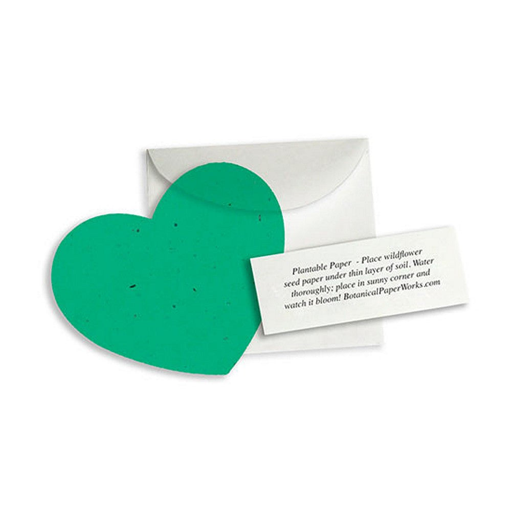 Plantable Heart Note Favor - Emerald Green, plantable wedding favor, heart party favor, green wedding favors, seed favors, Eco-Friendly Favors