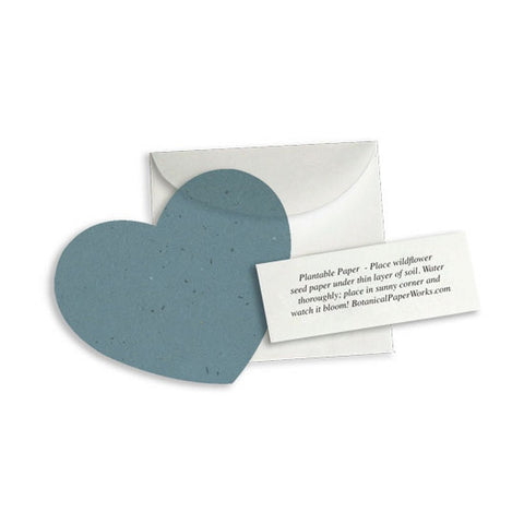 Plantable Heart Note Favor - French Blue, plantable wedding favor, heart party favor, blue wedding favors, seed favors, Eco-Friendly Favors