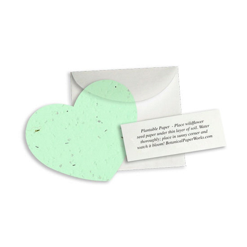 Plantable Heart Note Favor - Green, plantable wedding favor, heart party favor, green wedding favors, seed favors, Eco-Friendly Favors