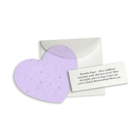 Plantable Heart Note Favor - Lavender, plantable wedding favor, heart party favor, lavender wedding favors, seed favors, Eco-Friendly Favors