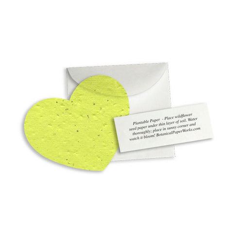 Plantable Heart Note Favor - Lime Green, plantable wedding favor, heart party favor, green wedding favors, seed favors, Eco-Friendly Favors