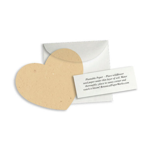 Plantable Heart Note Favor - Latte Brown, plantable wedding favor, heart party favor, tan wedding favors, seed favors, Eco-Friendly Favors