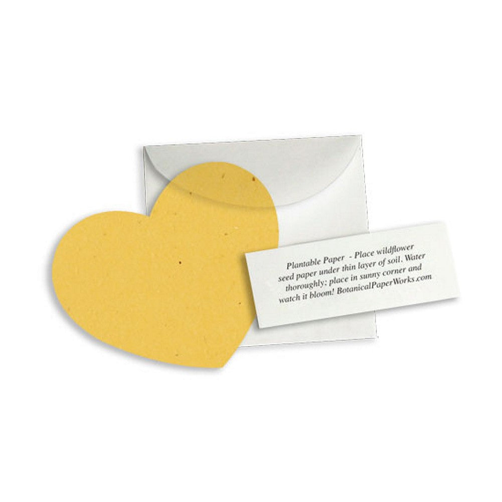 Plantable Heart Note Favor - Mustard Yellow, plantable wedding favor, heart party favor, fall wedding favors, seed favors, Eco-Friendly Favors