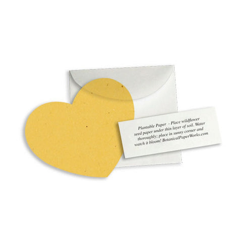 Plantable Heart Note Favor - Mustard Yellow - Sophie's Favors and Gifts