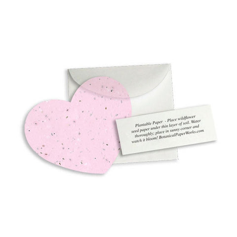 Plantable Heart Note Favor - Pink, plantable wedding favor, heart party favor, pink wedding favors, seed favors, Eco-Friendly Favors