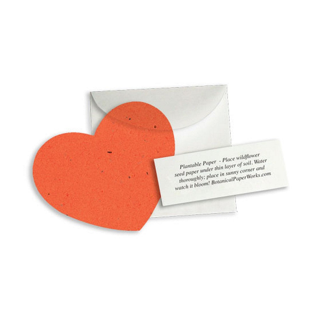 Plantable Heart Note Favor - Tangerine, plantable wedding favor, heart party favor, orange wedding favors, seed favors, Eco-Friendly Favors
