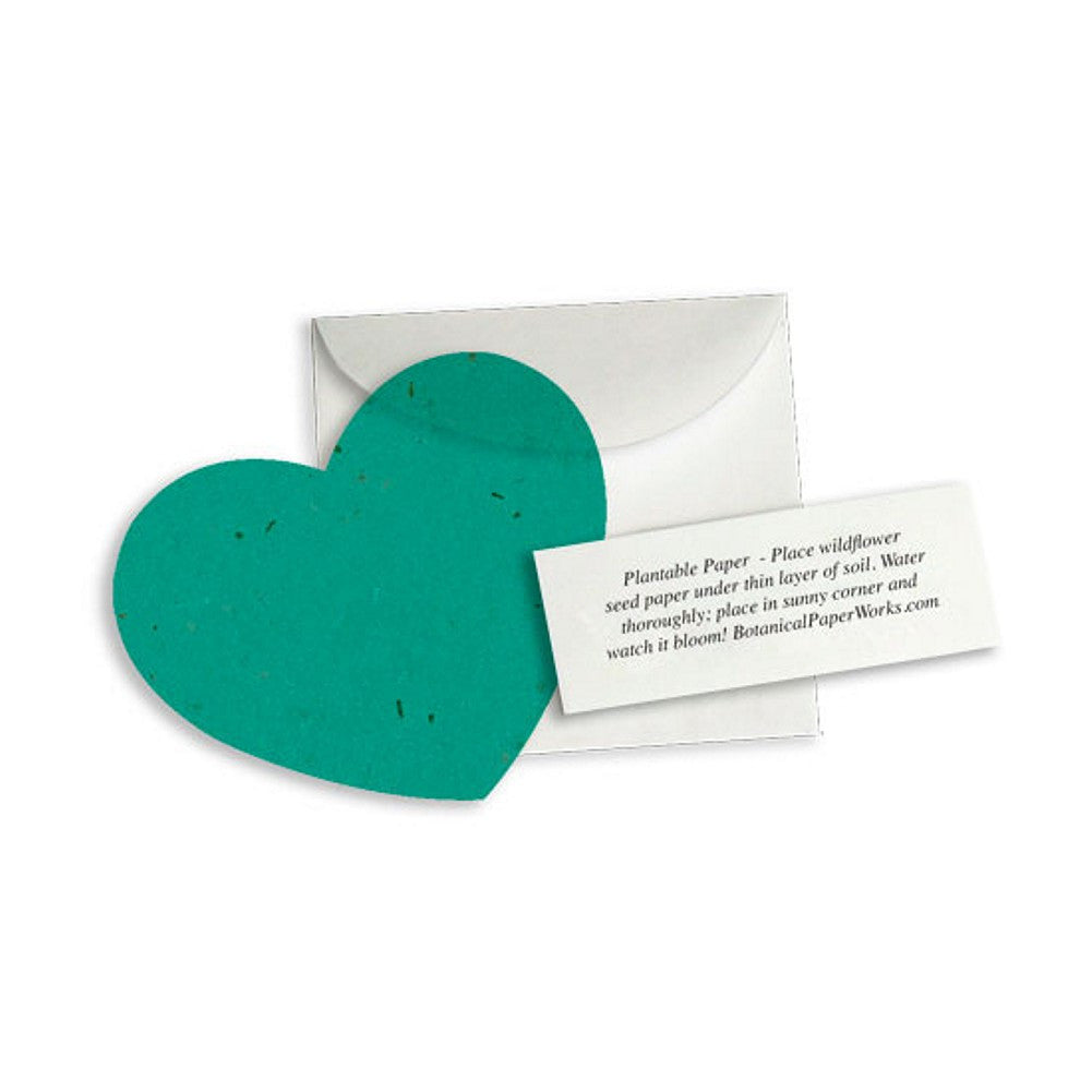 Plantable Heart Note Favor Teal