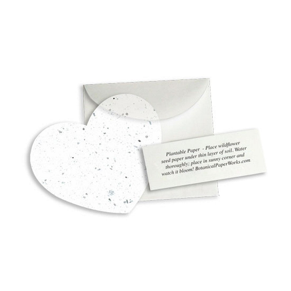 Plantable Heart Note Favor - White, plantable wedding favor, heart party favor, white wedding favors, seed favors, Eco-Friendly Favors