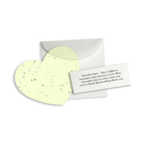 Plantable Heart Note Favor - Yellow, plantable wedding favor, heart party favor, yellow wedding favors, seed favors, Eco-Friendly Favors