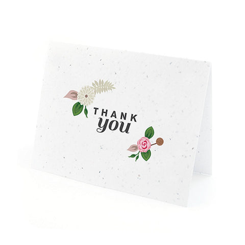 Floral Woodland Plantable Thank You Cards in Pink with White Envelopes, unique thank you cards, pink flower thank you cards, environmentally friendly thank you cards, eco friendly stationery, Thank You Cards, Eco-Friendly Favors