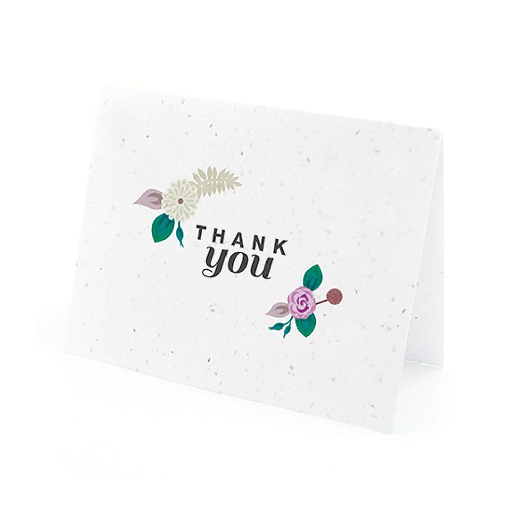 Floral Woodland Plantable Thank You Cards in Purple with White Envelopes, unique thank you cards, purple flower thank you cards, environmentally friendly thank you cards, eco friendly stationery, Thank You Cards, Eco-Friendly Favors