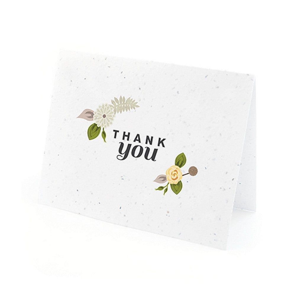 Floral Woodland Plantable Thank You Cards in Yellow with White Envelopes - Sophie's Favors and Gifts