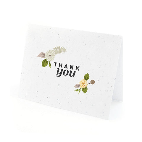 Floral Woodland Plantable Thank You Cards in Yellow with White Envelopes, unique thank you cards, yellow flower thank you cards, environmentally friendly thank you cards, eco friendly stationery, Thank You Cards, Eco-Friendly Favors