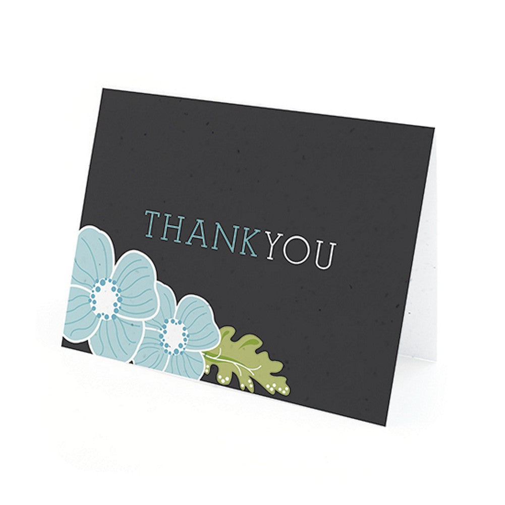 Ornate Floral Plantable Thank You Cards in Blue with White Envelopes, unique thank you cards, black blue thank you cards, black thank you cards, blue thank you cards, Thank You Cards, Eco-Friendly Favors