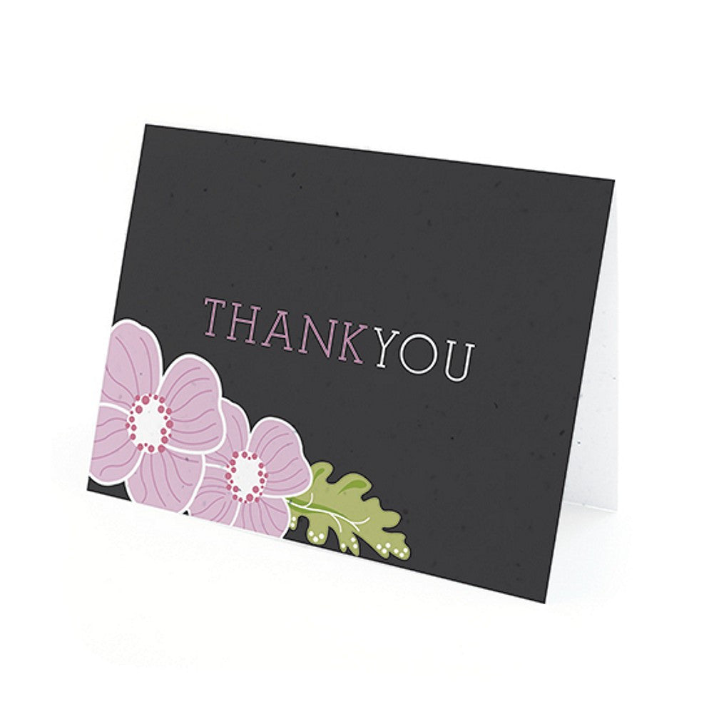 Ornate Floral Plantable Thank You Cards in Purple with White Envelopes, unique thank you cards, black purple thank you cards, black thank you cards, lavender thank you cards, Thank You Cards, Eco-Friendly Favors