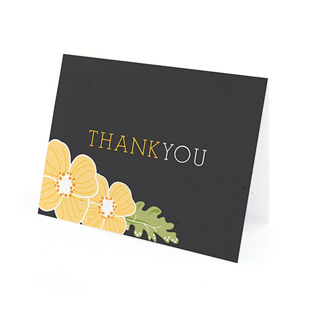 Ornate Floral Plantable Thank You Cards in Yellow with White Envelopes, unique thank you cards, black yellow thank you cards, black thank you cards, yellow thank you cards, Thank You Cards, Eco-Friendly Favors