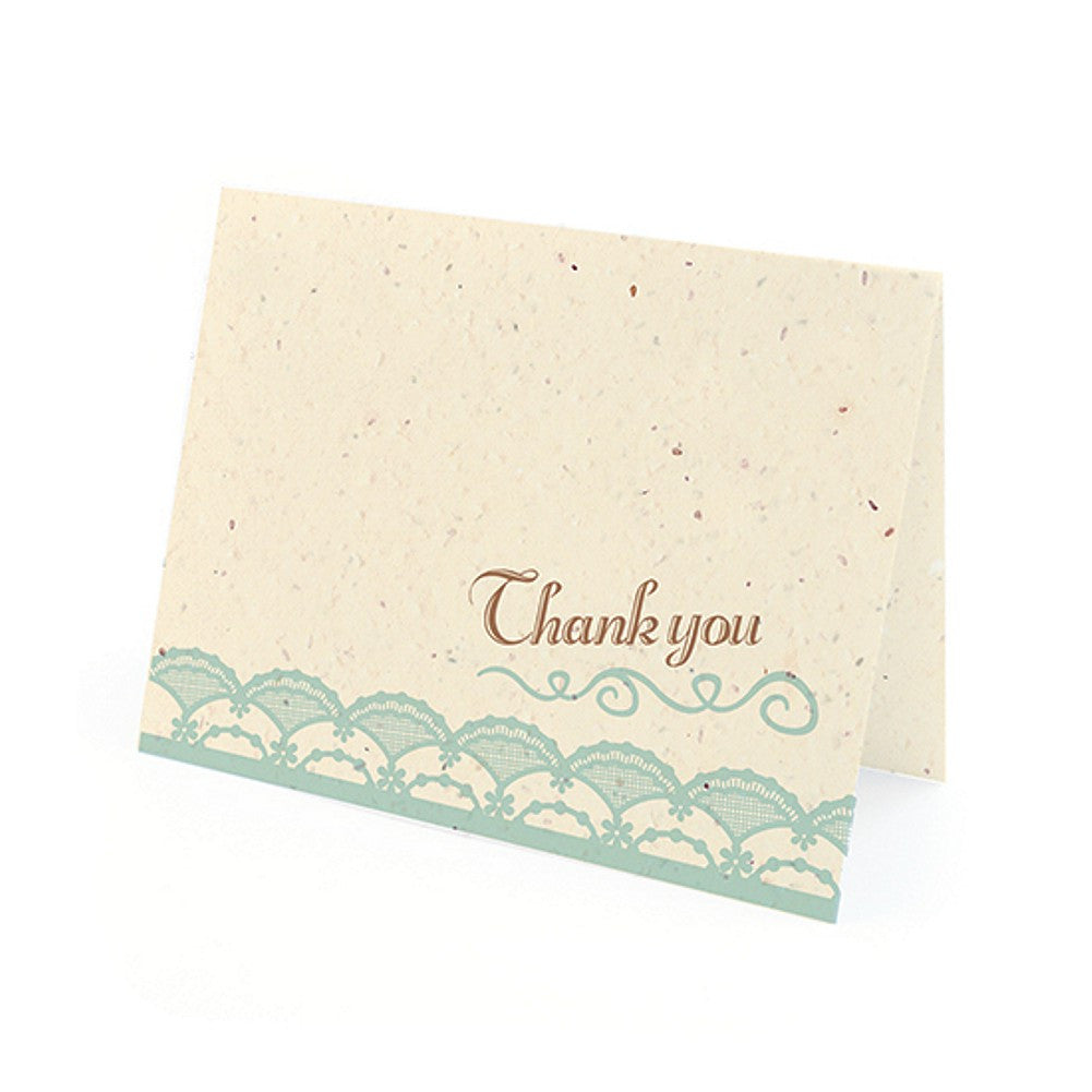 Rustic Lace Plantable Thank You Cards in Blue with White Envelopes - Sophie's Favors and Gifts