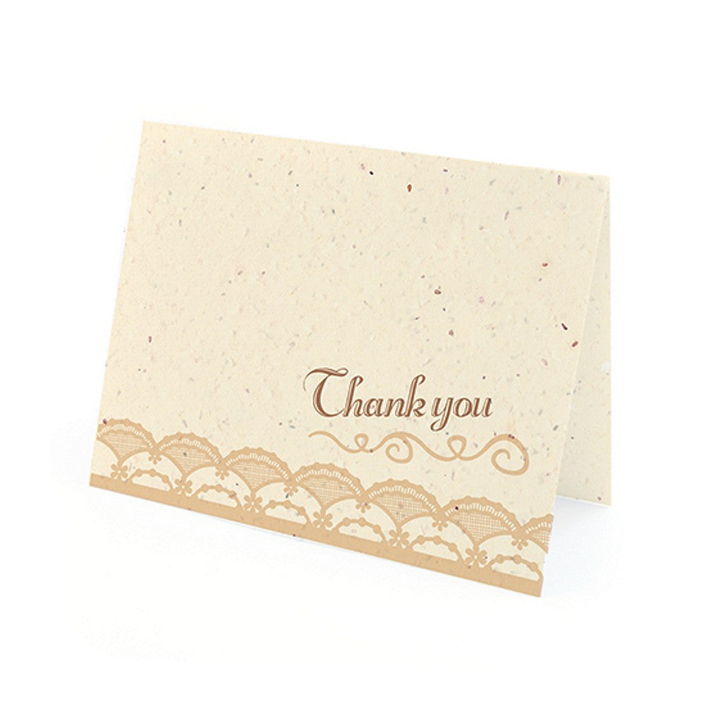 Rustic Lace Plantable Thank You Cards in Latte with White Envelopes, unique thank you cards, tan thank you cards, environmentally friendly thank you cards, lace thank you cards, Thank You Cards, Eco-Friendly Favors