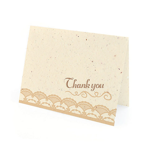 Rustic Lace Plantable Thank You Cards in Latte with White Envelopes - Sophie's Favors and Gifts