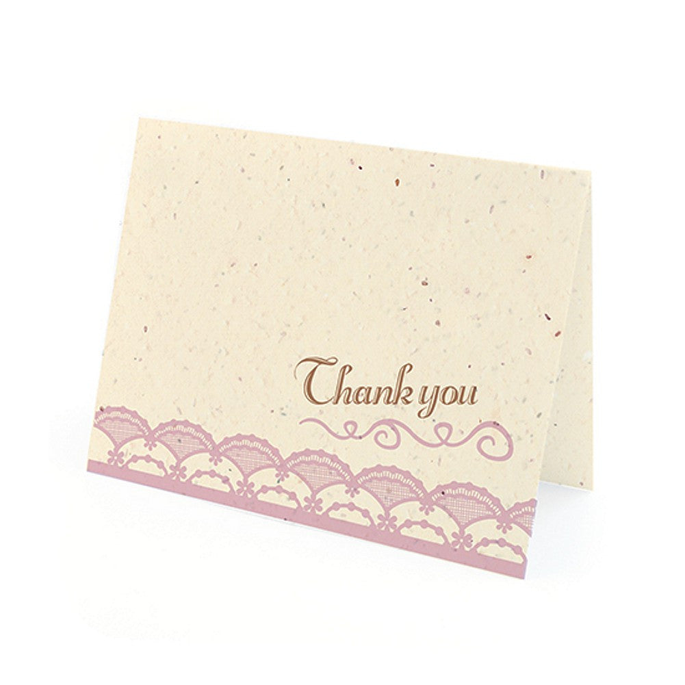Rustic Lace Plantable Thank You Cards in Lavender with White Envelopes, unique thank you cards, lavender thank you cards, environmentally friendly thank you cards, lace thank you cards, Thank You Cards, Eco-Friendly Favors