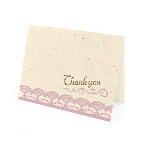 Rustic Lace Plantable Thank You Cards in Lavender with White Envelopes - Sophie's Favors and Gifts