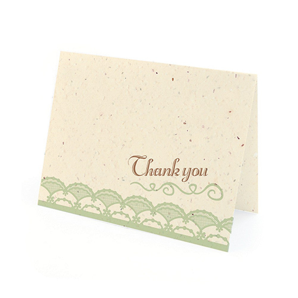 Rustic Lace Plantable Thank You Cards in Mint with White Envelopes, unique thank you cards, green thank you cards, environmentally friendly thank you cards, lace thank you cards, Thank You Cards, Eco-Friendly Favors