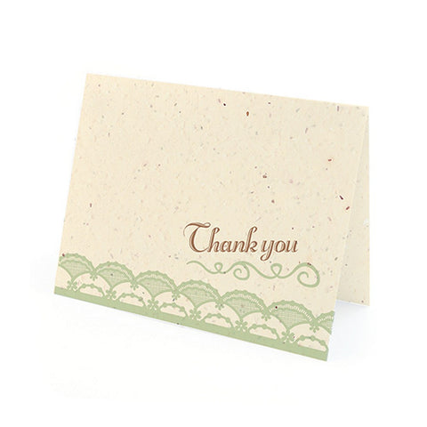Rustic Lace Plantable Thank You Cards in Mint with White Envelopes - Sophie's Favors and Gifts