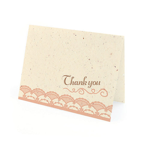 Rustic Lace Plantable Thank You Cards in Rose with White Envelopes - Sophie's Favors and Gifts