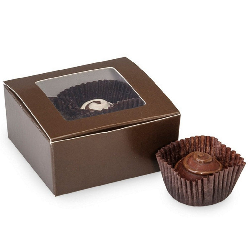 "Brown 4-Piece Truffle Candy Boxes - 2 5/8"" x 2 3/4"" x 1 1/4"" - 25 Pack - Sophie's Favors and Gifts"