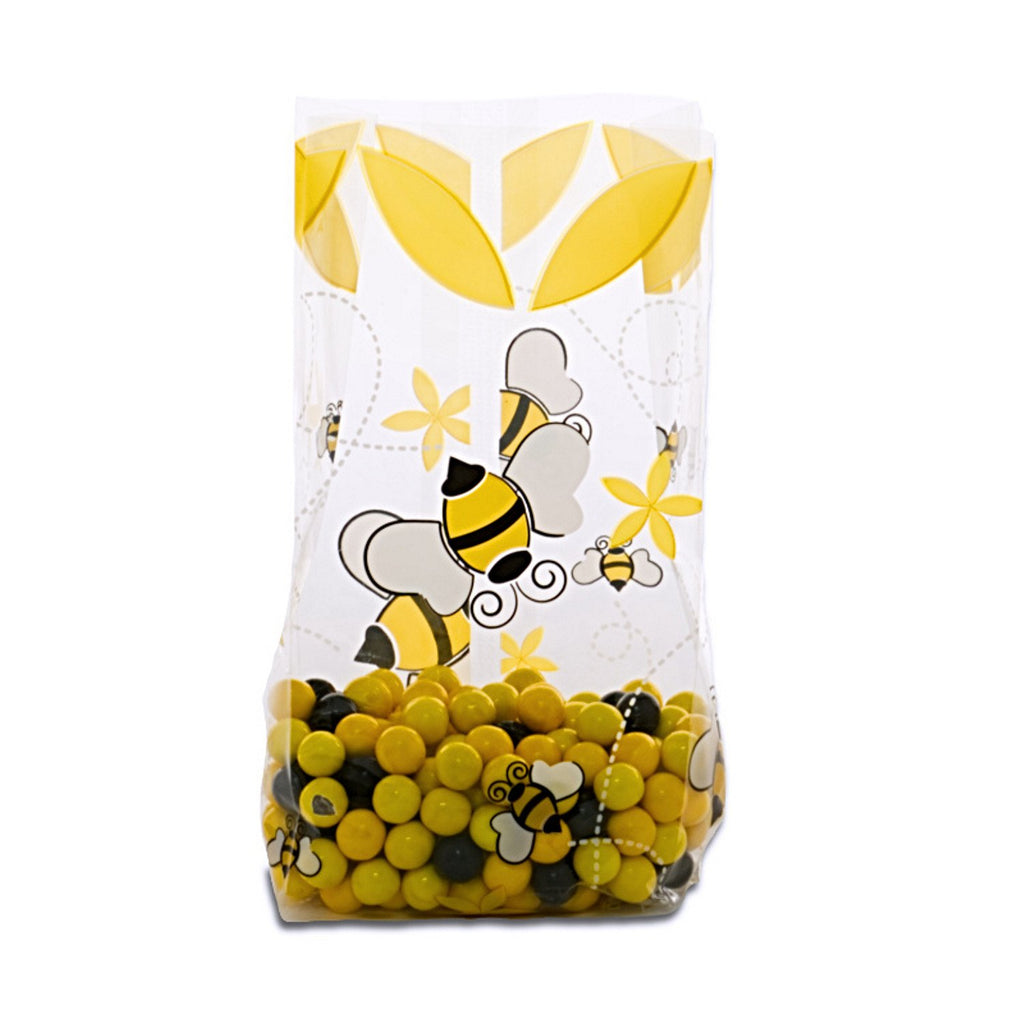 Bumblebee Printed Cello Goodie Bags - 20 Pack - 7.5in. x 3.5in. x 2in. - Sophie's Favors and Gifts
