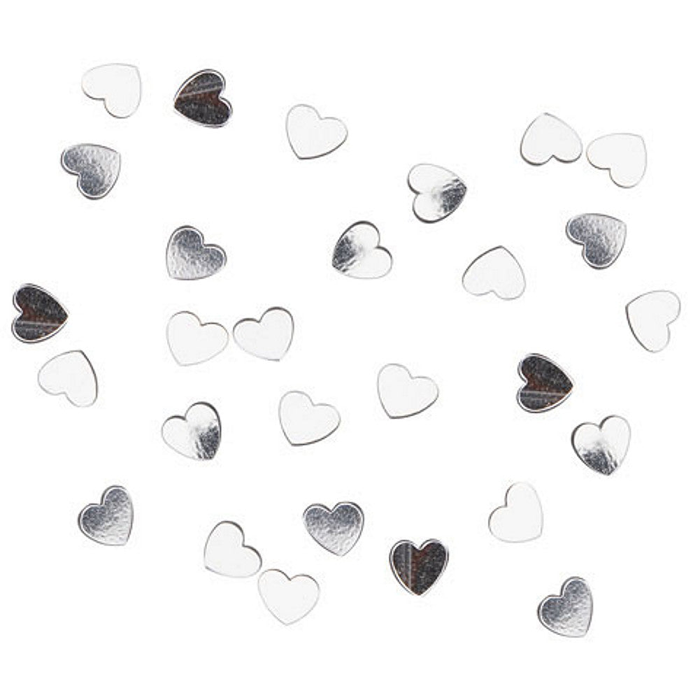 Confetti Pack - 6mm Hearts - Silver (1 Pack, .5 oz.) - Sophie's Favors and Gifts