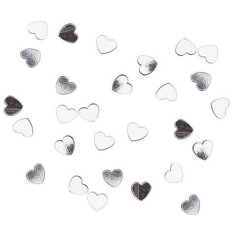 Confetti Pack - 6mm Hearts - Silver (1 Pack, .5 oz.), silver heart confetti, heart confetti, valentines day confetti, confetti hearts, Table Decorations and Centerpieces