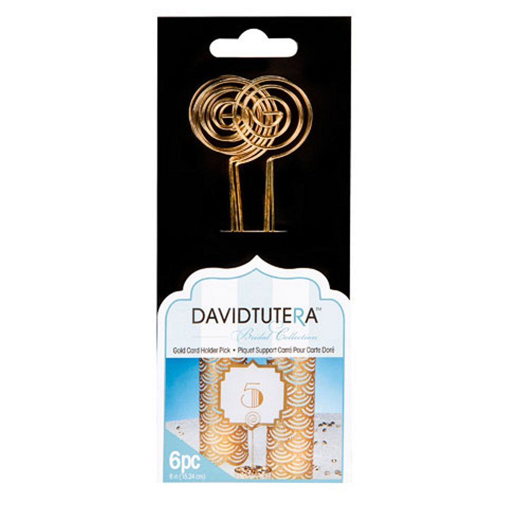 Gold Card Holder Picks by David Tutera - 6 inches (6/pcs), gold card holder, gold place card holder, gold photo holder, cheap placecard holder, Table Decorations & Centerpieces