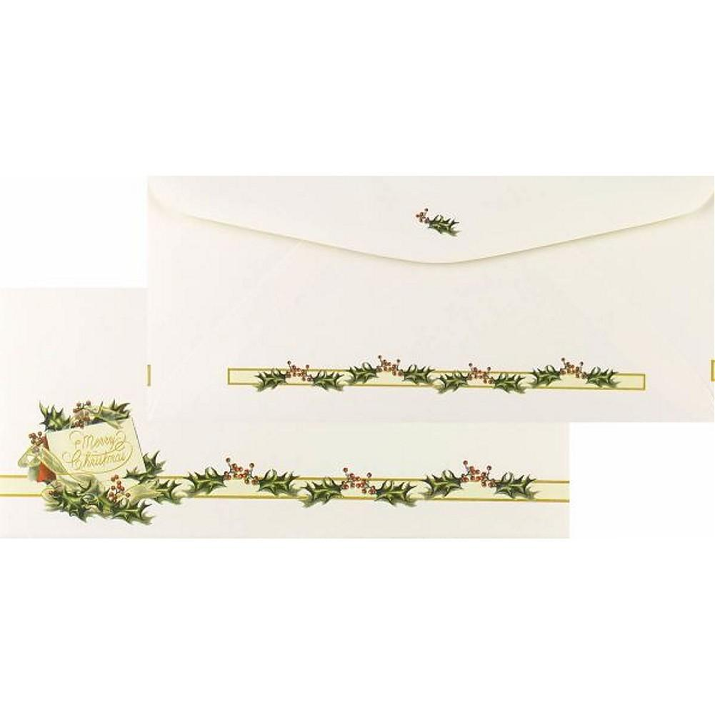 Vintage Christmas Holly No. 10 Envelopes, holiday envelopes, christmas envelopes, color envelopes, christmas supplies, Stationery & Letterhead