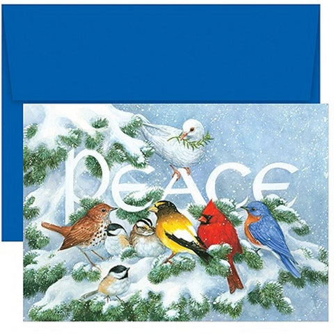 Birds On Branch Holiday Cards With Blue Envelopes, bird christmas cards, unique christmas cards, holiday cards, christmas card ideas, Greeting Cards