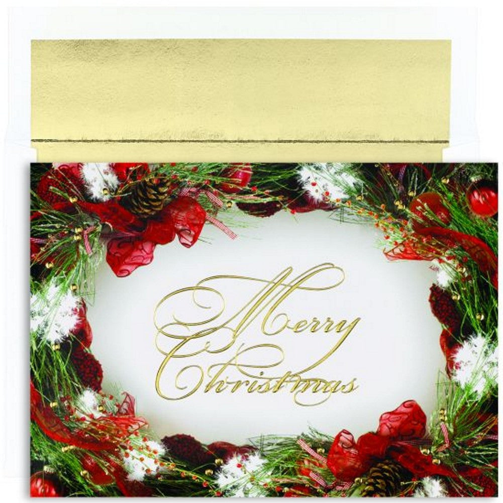 wreath border holiday cards with gold foil lined envelopes