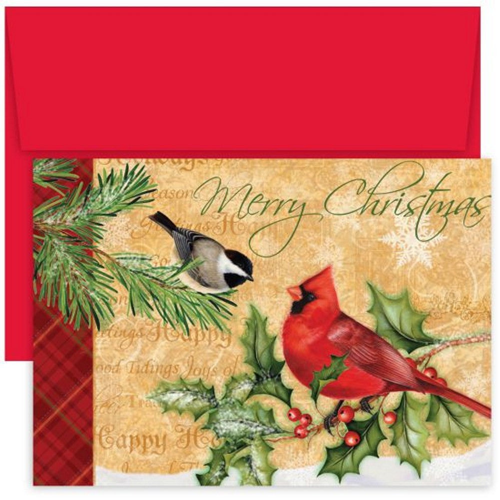 Holiday Birds Holiday Cards With Red Envelopes , unique christmas cards, greeting cards, holiday card ideas, christmas cards ideas, Greeting Cards