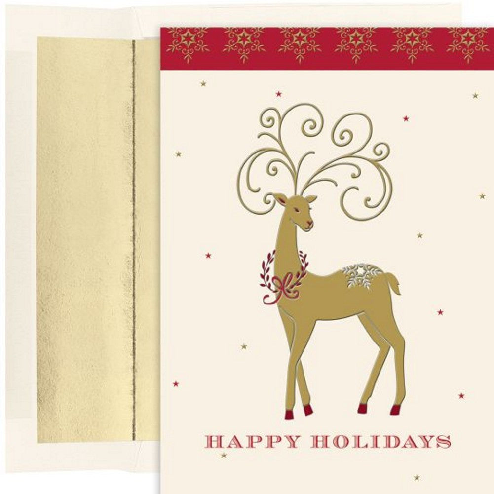 Holiday Deer Holiday Cards With Gold Foil Lined Envelopes, unique christmas cards, greeting cards, holiday card ideas, christmas cards ideas, Greeting Cards