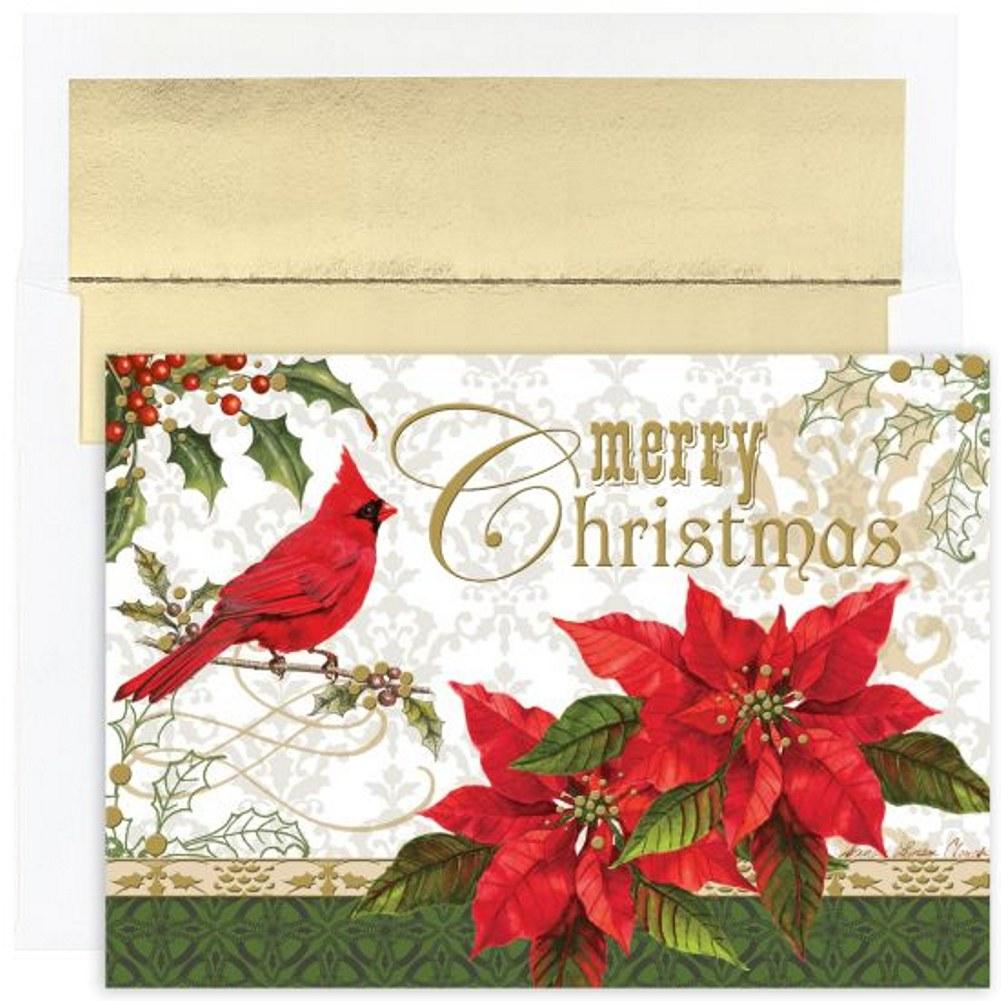 Merry Christmas Holiday Cards With Gold Foil Lined Envelopes - Sophie's Favors and Gifts