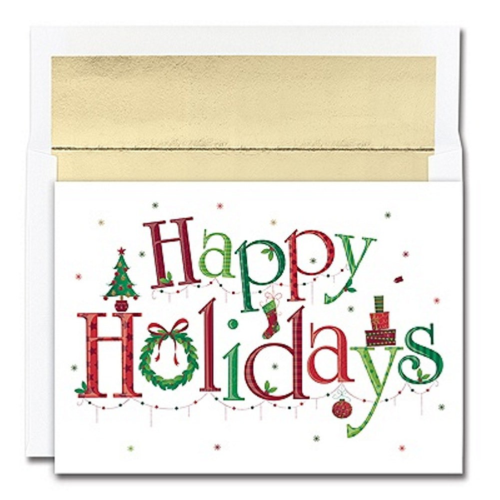 Happy Holidays Holiday Cards With Gold Foil Lined Envelopes, unique christmas cards, greeting cards, holiday card ideas, christmas cards ideas, Greeting Cards