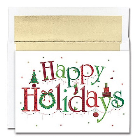 Buy the best holiday greeting cards online happy holidays holiday cards with gold foil lined envelopes unique christmas cards greeting cards m4hsunfo