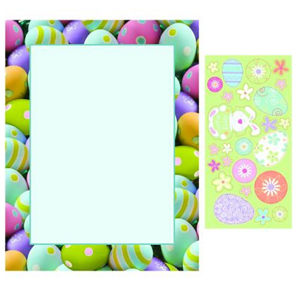 100 Painted Easter Eggs Letterhead with 25 Coordinating Stickers - Sophie's Favors and Gifts