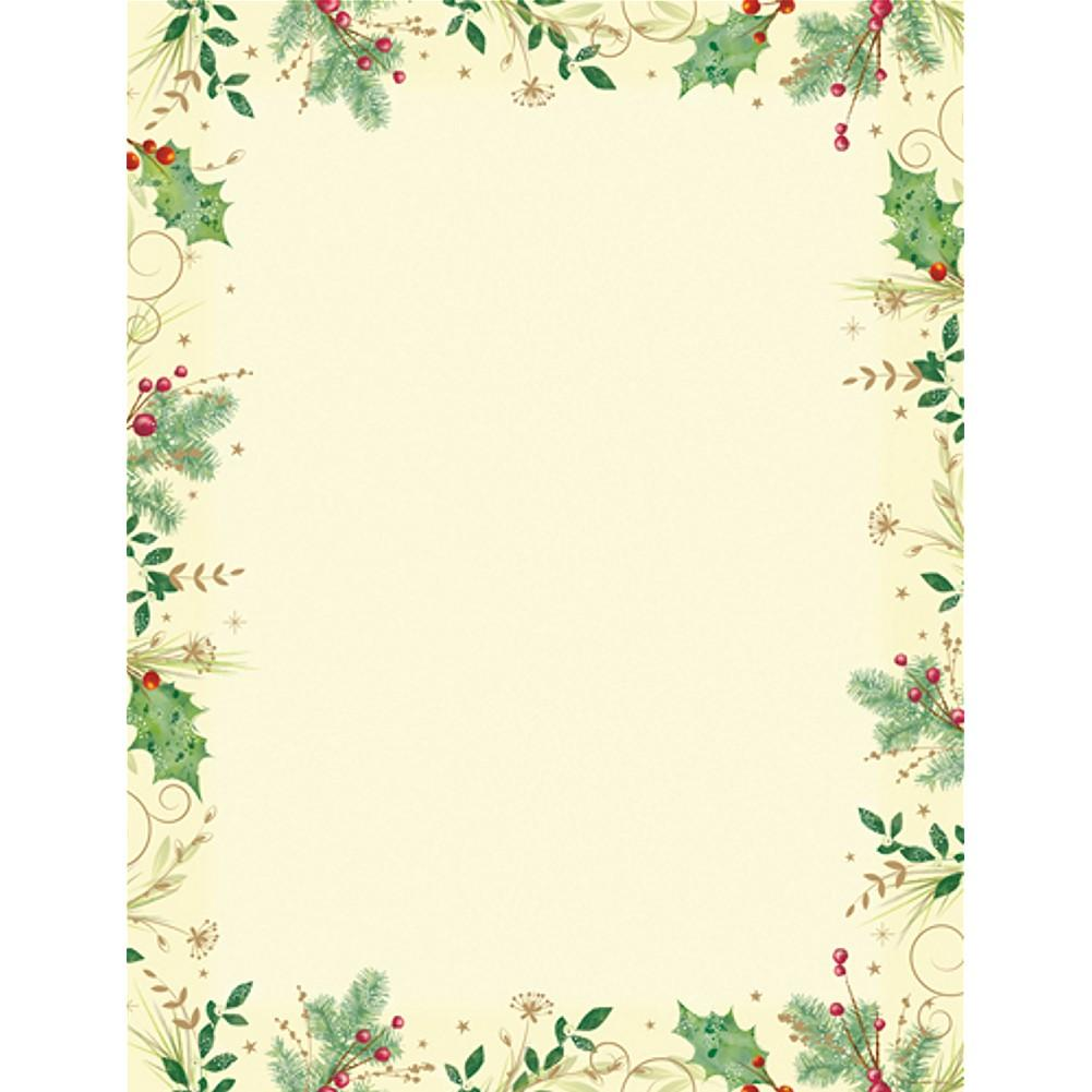 Holly Branches Letterhead Sheets, christmas stationery, christmas letterhead, christmas letters, christmas party invites, Stationery & Letterhead